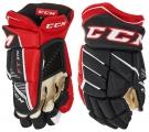 Hokejové rukavice CCM JetSpeed FT 370 SR černo-červené-bílé